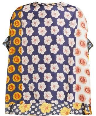 Biyan Swarna Floral Print Silk Faille Blouse - Womens - Yellow Multi