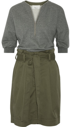 3.1 Phillip Lim - French Cotton-terry And Cotton-blend Twill Dress - Army green $475 thestylecure.com
