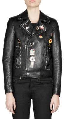 Saint Laurent Logo Pin Leather Jacket