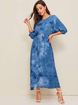 Shein Tie Dye Batwing Sleeve Drawstring Waist Maxi Dress