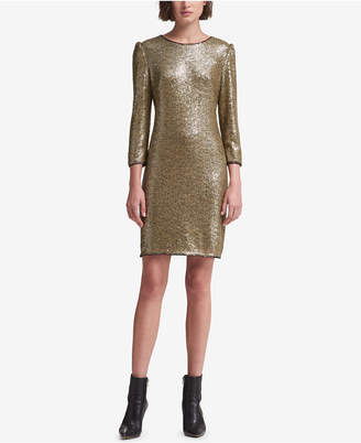 DKNY Long-Sleeve Sequin Dress