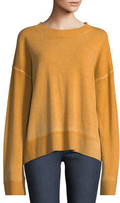 Elizabeth and James Oliver Crewneck Dropped-Shoulder Cashmere Pullover Sweater