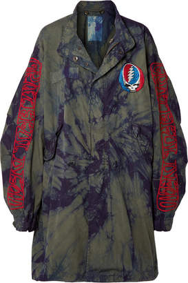 R 13 Grateful Dead Oversized Embroidered Tie-dyed Cotton-twill Coat - Green