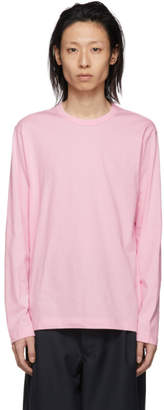 Comme des Garcons Pink Logo Long Sleeve T-Shirt