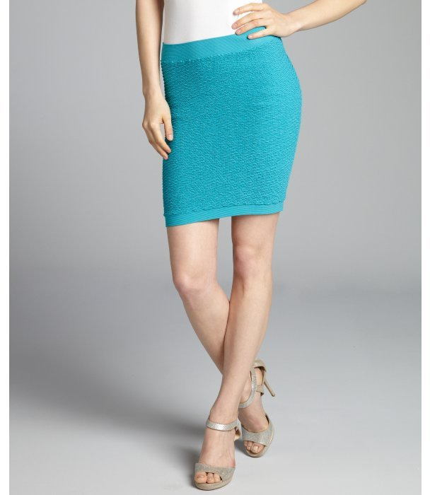 BCBGeneration turquoise textured jersey knit mini skirt