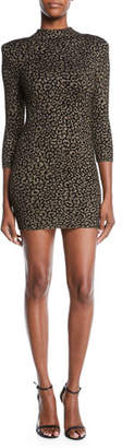 A.L.C. Mahry Fitted Metallic Animal-Print Short Dress