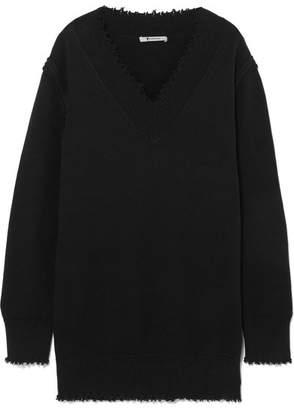 Alexander Wang Distressed Cotton-blend Sweater - Black