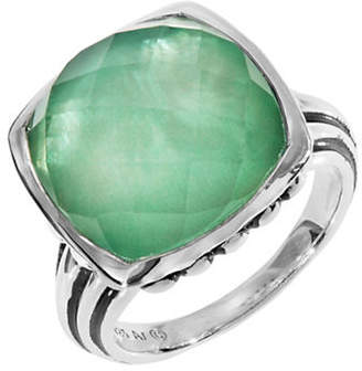Mother of Pearl FINE JEWELLERY Green Quartz and Doublet Sterling Silver Ring