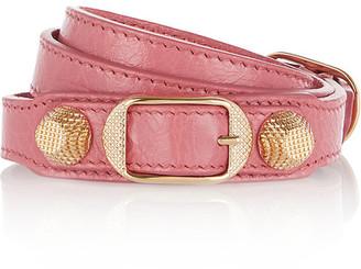 Balenciaga - Giant Triple Tour Textured-leather And Gold-tone Bracelet - Pink $245 thestylecure.com