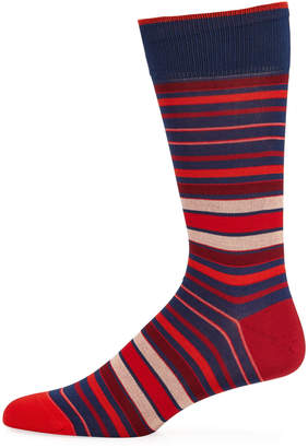 Bugatchi Men's Striped Socks, Red