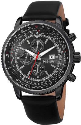 August Steiner Men's Three Hand Chronograph Leather Watch, 46mm