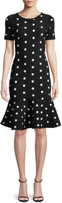 Milly Short-Sleeve Polka-Dot Mermaid Dress