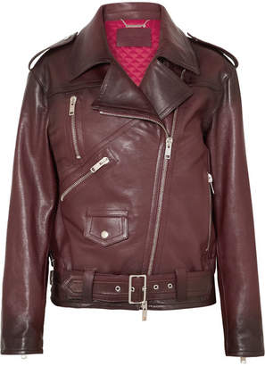 Givenchy Oversized Textured-leather Biker Jacket - Burgundy