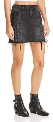 Blank NYC BLANKNYC Lace-Up Denim Skirt