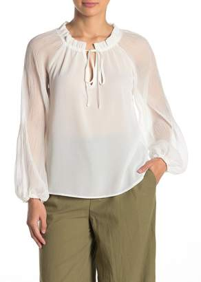 Jealous Tomato Sheer Split Neck Peasant Blouse