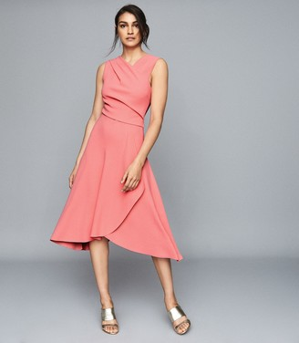 Reiss MARLING WRAP FRONT MIDI DRESS Pink