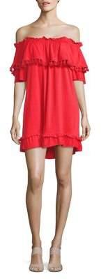 Kensie Fringe-Trimmed Off-the-Shoulder Dress