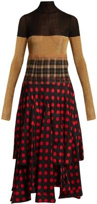High-neck contrast-panel dress