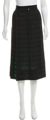 Issey Miyake Striped Midi Skirt