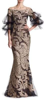 Marchesa Off-Shoulder Metallic Corded Lace Gown