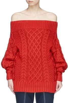 Self-Portrait Oversized off-shoulder cable knit sweater