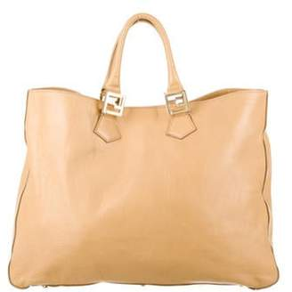 Fendi Leather Satchel Handle Bag Tan Leather Satchel Handle Bag