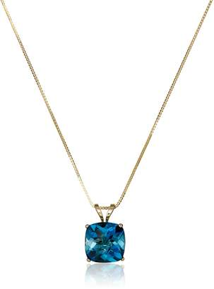 DAY Birger et Mikkelsen Amazon Collection 14k Yellow Gold Cushion Checkerboard Swiss Blue Topaz Pendant Necklace (8mm)