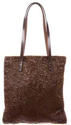 Fendi Leather-Trimmed Beaded Tote