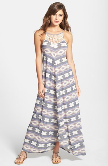 Lucky Brand Crochet Detail Print Maxi Dress