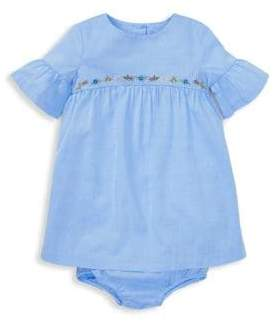 Ralph Lauren Girl's Two-Piece Cotton Ruffle Dress and Bloomers Set