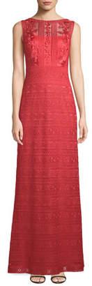 Tadashi Shoji Embroidered Sleeveless Lace Gown