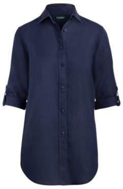 Ralph Lauren Linen Button-Down Shirt Navy Xxs