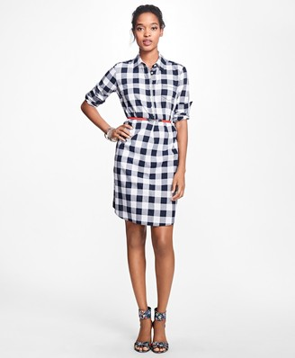 Brooks Brothers Gingham Cotton Twill Shirtdress