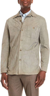 Luciano Barbera Leather Patch Pocket Jacket