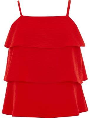River Island Girls red tiered frill cami top