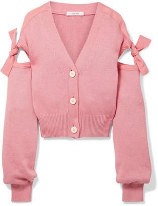 ADEAM - Tie-detailed Cotton-blend Cardigan - Pink