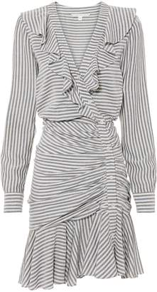 Veronica Beard Kai Ruffle Striped Mini Dress