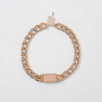 River Island Gold tone chunky chain bar necklace