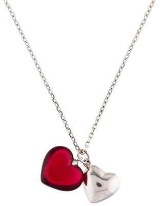 Baccarat Romance Crystal Double Heart Pendant Necklace