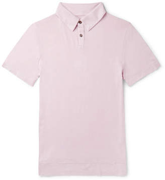 The Elder Statesman Slub Cotton And Cashmere-Blend Polo Shirt