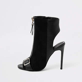River Island Black wide fit zip front buckle shoe boots