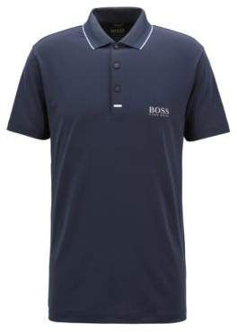 BOSS Hugo Slim-fit polo shirt in moisture-wicking stretch fabric L Dark Blue