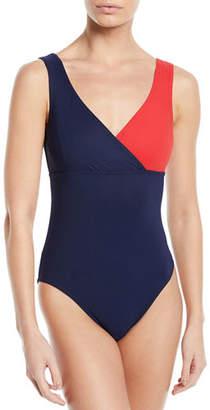 Karla Colletto Helene Surplice Colorblock One-Piece Swimsuit
