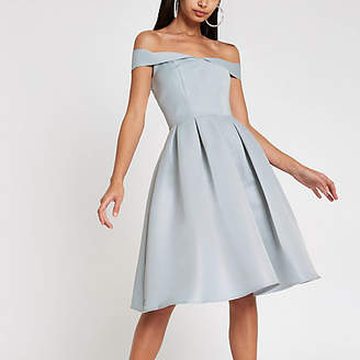 River Island Chi Chi London blue bardot neck prom dress