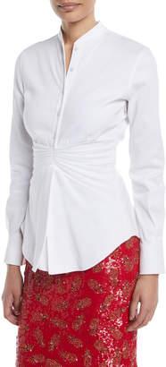 Brandon Maxwell Pleated-Waist Button-Front Long-Sleeve Cotton Shirt