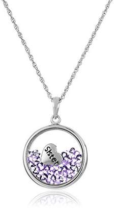"""Sterling Silver Floating Crystals and """"Sister"""" Pendant Necklace"""