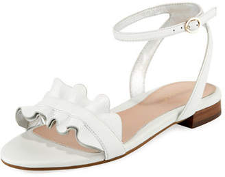 Taryn Rose Vesta Ruffle Leather Flat Sandal