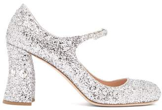 Miu Miu Glitter Crystal Embellished Pumps - Womens - Silver