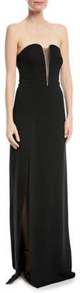 Halston Fitted Strapless Crepe Gown w/ Mesh Insert