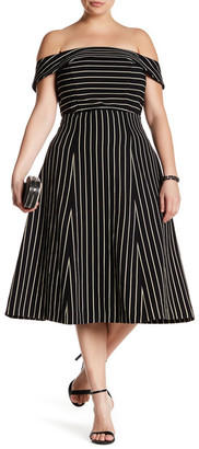 ABS by Allen Schwartz Off-The-Shoulder Pinstripe Dress (Plus Size) $420 thestylecure.com